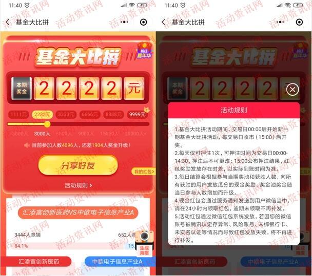中信建投小店基金大比拼瓜分最高9999元微信红包奖励