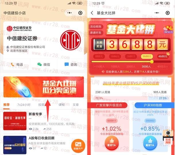 中信建投小店基金大比拼每天瓜分4688元微信红包奖励