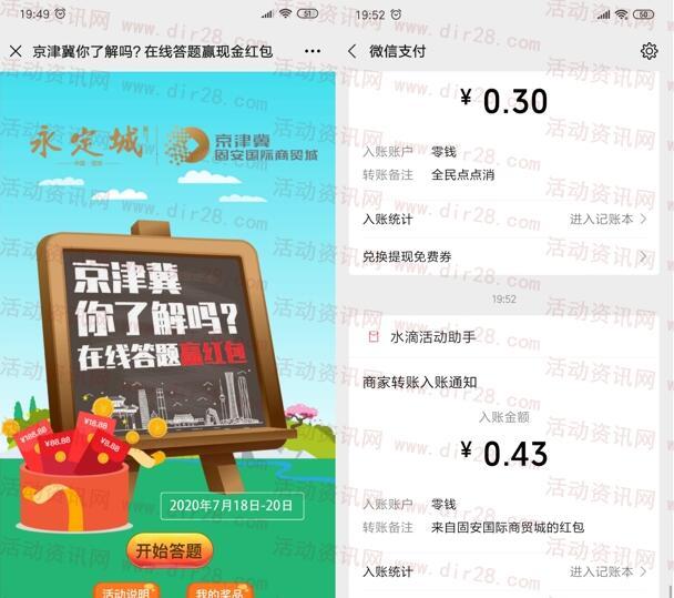 京津冀你了解吗答题抽最高188元微信红包 亲测中0.43元