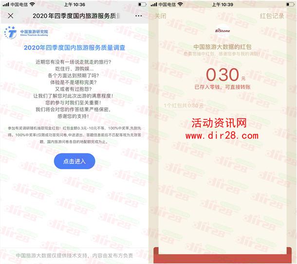 中国旅游大数据2个活动抽1.1万个微信红包 亲测中0.3元