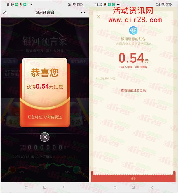 中国银河证券预言家猜涨跌抽随机微信红包 亲测中0.54元