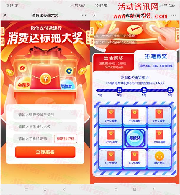 中国建设银行消费达标抽1-10元微信支付立减金、实物奖励