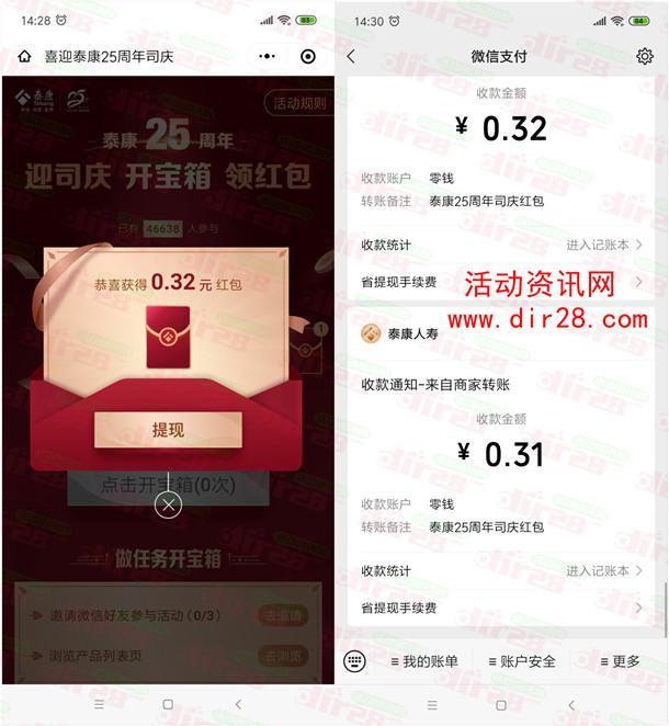 泰康25周年迎司庆开宝箱抽随机微信红包 亲测中1.54元秒推