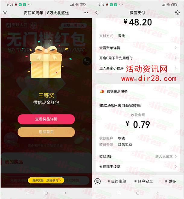 安联人力十周年庆典预热抽8万元微信红包 亲测中0.79元